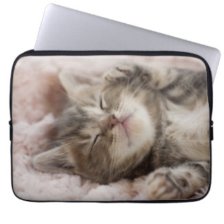 Kitten Sleeping On Towel Laptop Sleeve