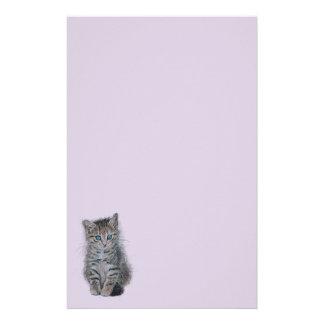 kitten tabby art personalized stationery