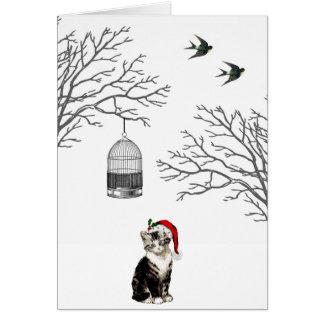 Kitten Vintage Birdcage Christmas Card