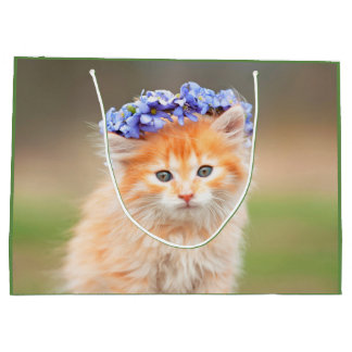 Kitten Wearing a Garland of Purple Flowers Large Gift Bag