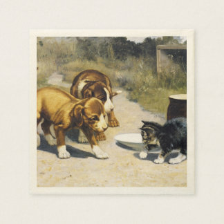 Kitten with 2 puppies vintage painting disposable napkin