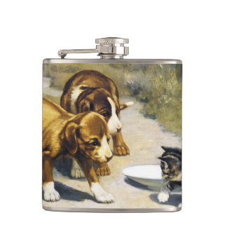 Kitten with 2 puppies vintage painting flask