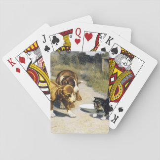 Kitten with 2 puppies vintage painting playing cards