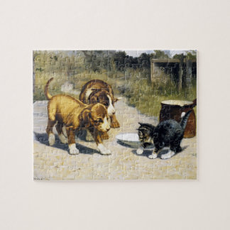Kitten with 2 puppies vintage painting puzzle