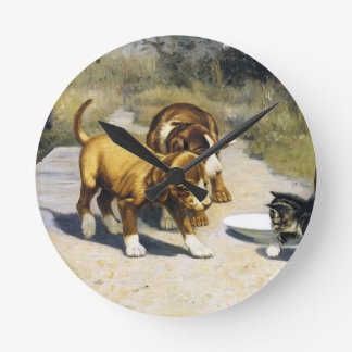 Kitten with 2 puppies vintage painting wall clock
