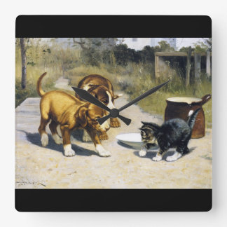 Kitten with 2 puppies vintage painting wallclock