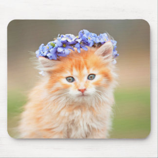Kitten with a Garland of Purple Flowers Mouse Pad