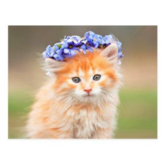 Kitten with a Garland of Purple Flowers Postcard