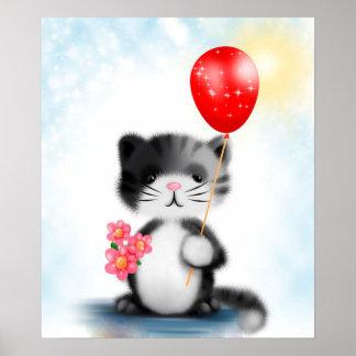Kitten with Balloon Poster