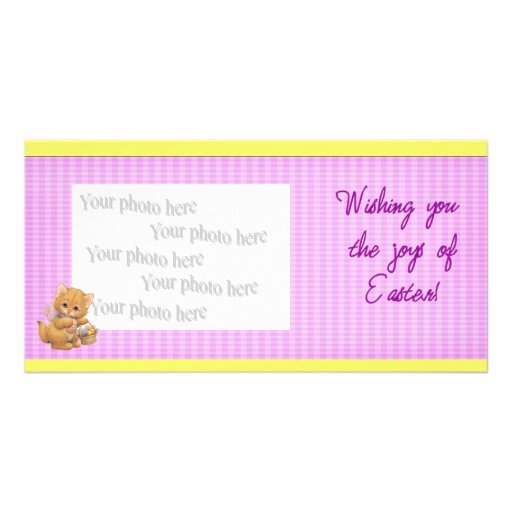Kitten with Easter Basket Customized Photo Card