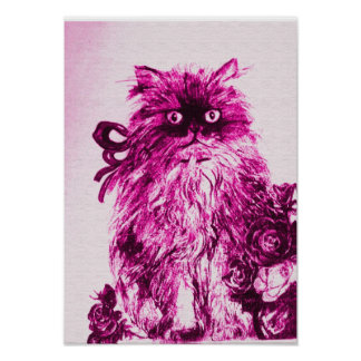 KITTEN WITH ROSES ,Pink Fuchsia White Poster