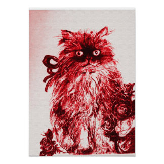 KITTEN WITH ROSES ,Red and White Poster
