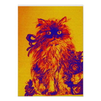 KITTEN WITH ROSES ,Yellow Orange Blue Poster