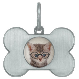 Kitten with Round Glasses Pet Tags