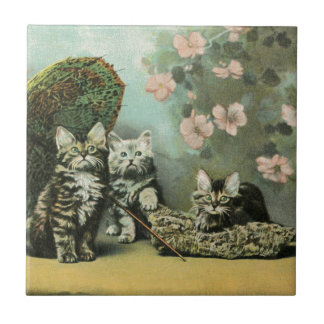 Kittens and Blossoms Tile