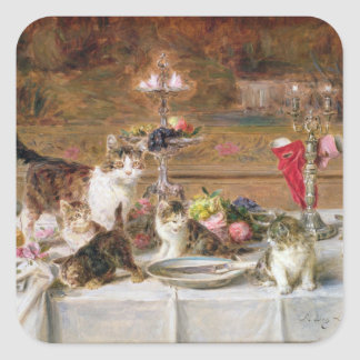 Kittens at a banquet, 19th century square sticker