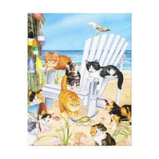 Kittens at the Beach Stretched Canva Canvas Print
