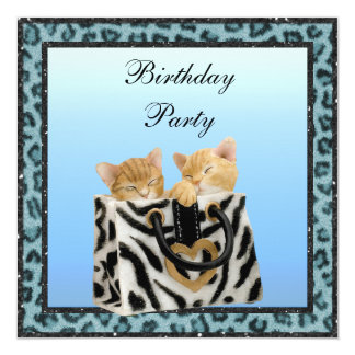 Kittens & Blue Leopard Print Fur Birthday Party Card