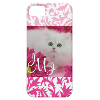 Kittens, Cats, Pink, Flowers, Monogram Case For The iPhone 5