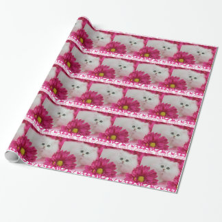 Kittens, Cats, Pink, Flowers, Monogram Wrapping Paper