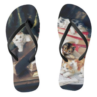 Kittens Cats Play Naughty Funny Cute Flip Flops