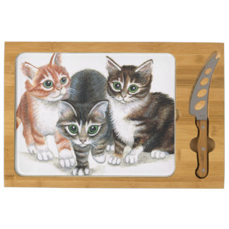 kittens cheese board round cheeseboard