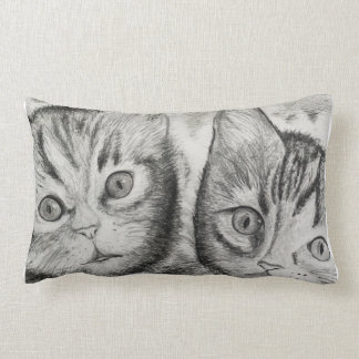 Kittens Duo for Cats Lovers, Drawing byCraftiesPot Lumbar Pillow