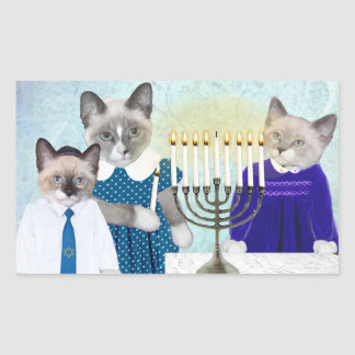 Kittens' Hanukkah Rectangle Stickers