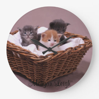 Kittens in a Basket Large Clock