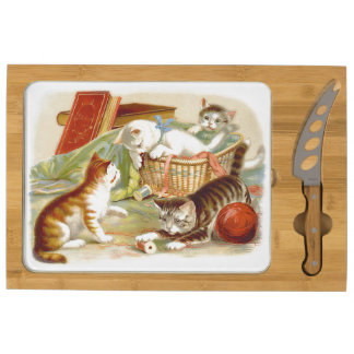 Kittens in a Basket playing Round Cheese Board