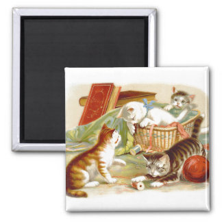Kittens in a Basket playing Square Magnet