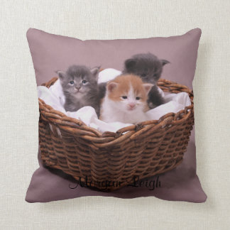 Kittens in a Basket Throw Pillow