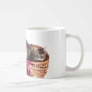 kittens in a wicker basket coffee mug