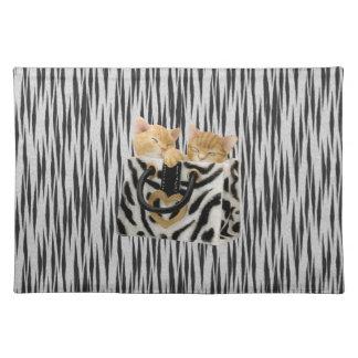 Kittens in Handbag Tiger Print Placemat