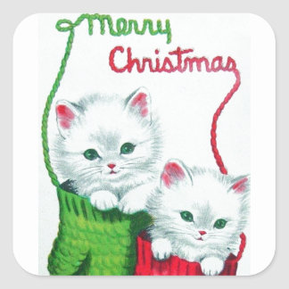 Kittens in Mittens Merry Christmas Square Sticker