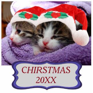 Kittens in Santa Hats Christmas 20XX Ornament Photo Sculpture Ornament
