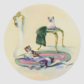 KITTENS in the BATHROOM by SHARON SHARPE Classic Round Sticker