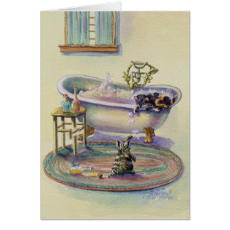 KITTENS in the BATHTUB by SHARON SHARPE Card