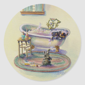 KITTENS in the TUB by SHARON SHARPE Classic Round Sticker