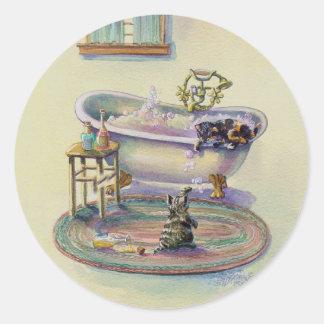 KITTENS in the TUB by SHARON SHARPE Round Sticker