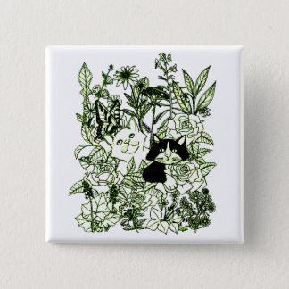 Kittens in the Wildflowers 2 Inch Square Button