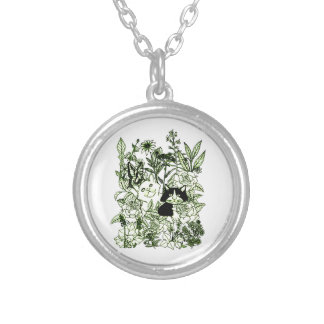Kittens in the Wildflowers Silver Plated Necklace