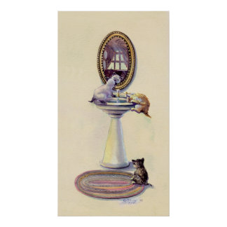 KITTENS & MIRROR by SHARON SHARPE Poster