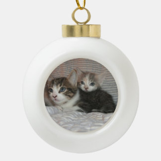 Kittens on a Blanket Ceramic Ball Christmas Ornament