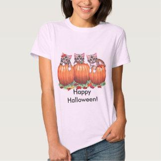 Kittens on Pumpkins for Halloween T-shirts