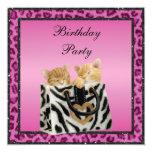 Kittens & Pink Leopard Print Fur Birthday Party