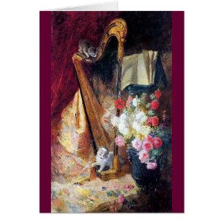 Kittens Playing Harp Music painting Card