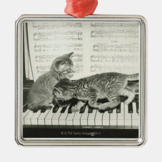 Kittens Playing the Piano Metal Ornament