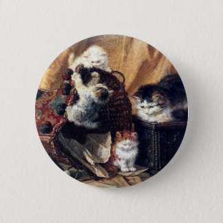Kittens playing with basket antique painting 2 inch round button
