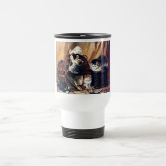 Kittens playing with basket antique painting travel mug